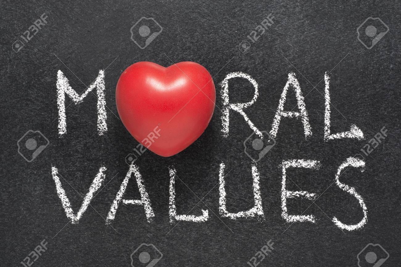 Moral Values Phrase Handwritten On Blackboard With Heart Symbol