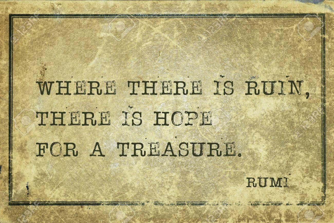 Standard Bild Wo Es Ruine Ist Gibt Es Hoffnung Fur Einen Schatz Alten Persischen Dichter Und Philosoph Rumi Zitat Auf Grunge Jahrgang Karton Gedruckt