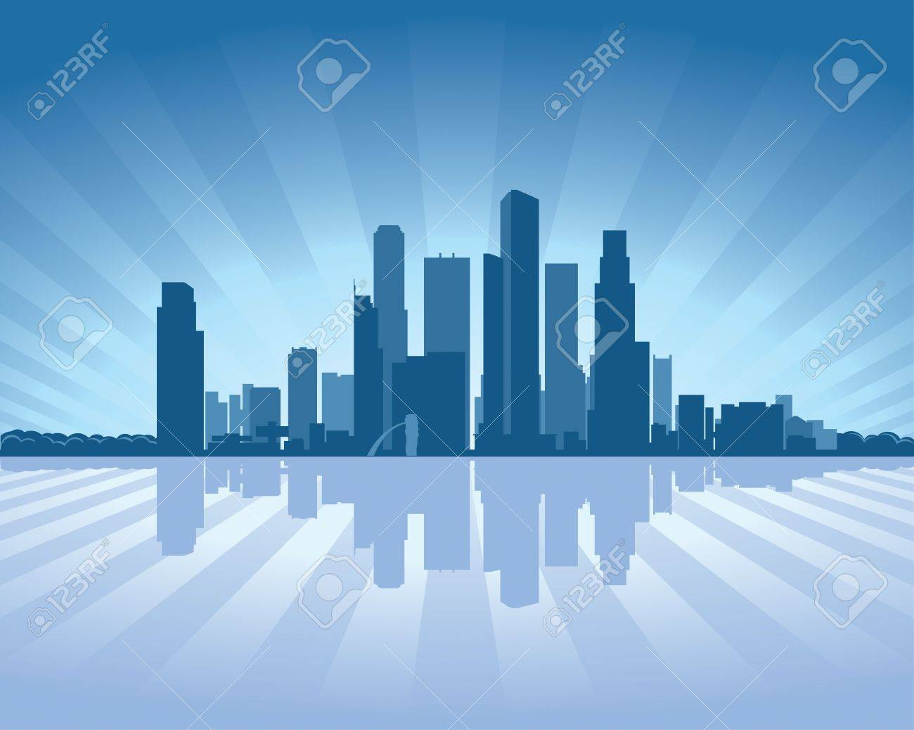 Singapore skyline with reflection in water Stock Vector - 11298550