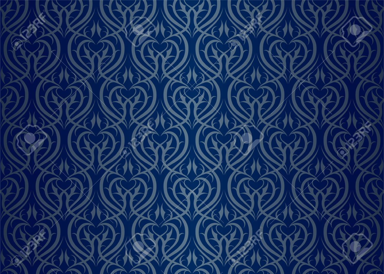 Seamless wallpaper pattern silver blue Stock Vector - 11298574