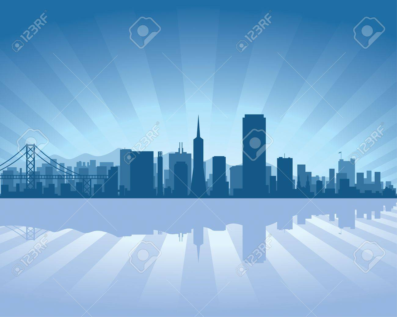 San Francisco skyline with reflection in water Stock Vector - 11938818