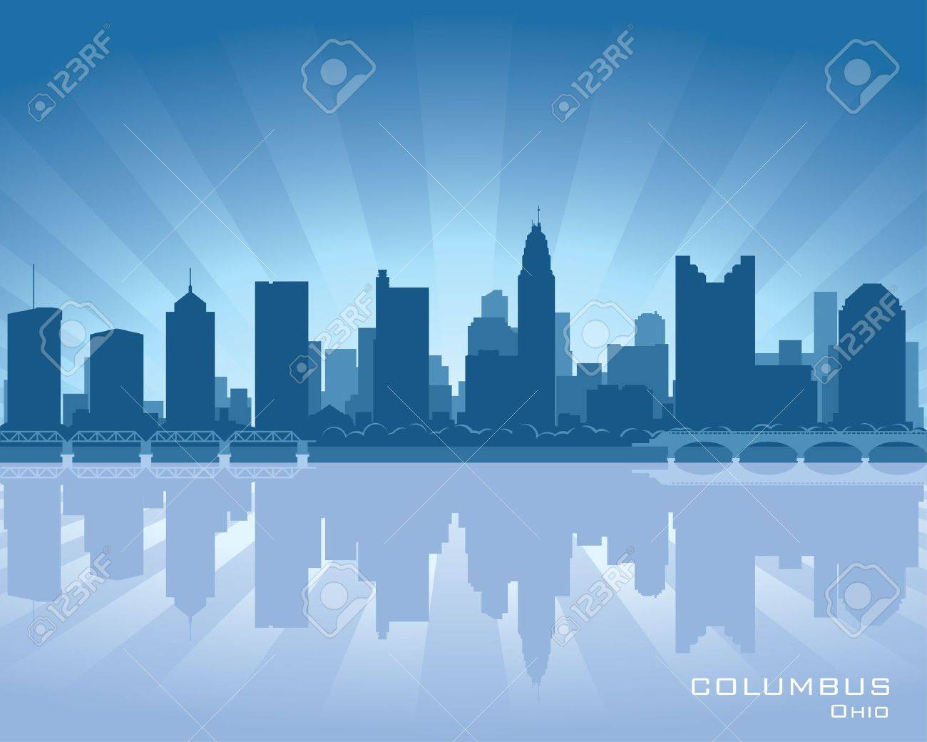 Columbus, Ohio skyline illustration with reflection in water Stock Vector - 12496312