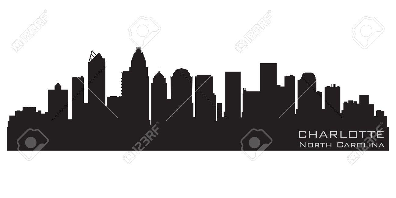 Charlotte, North Carolina skyline  Detailed silhouette Stock Vector - 12875820
