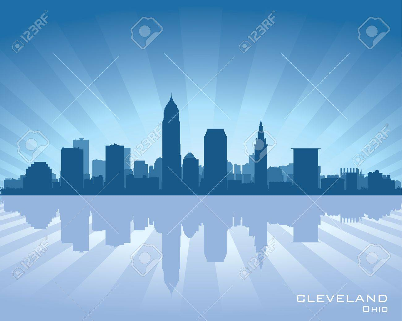 Cleveland, Ohio skyline illustration with reflection in water Stock Vector - 14293574
