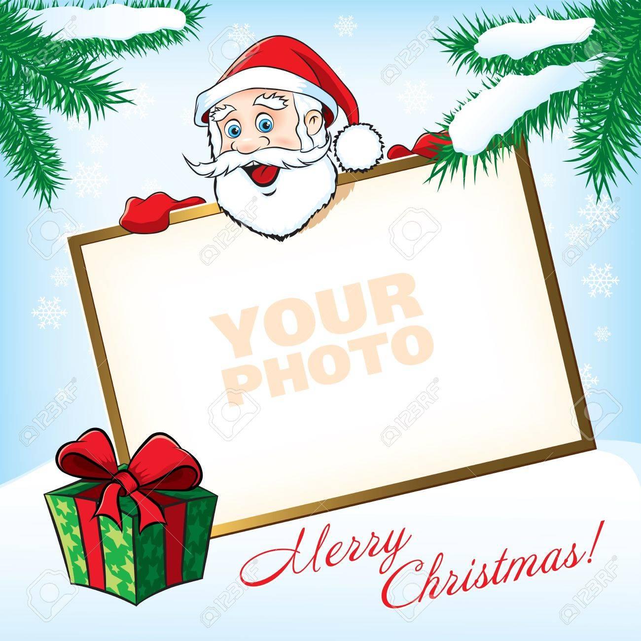 Weihnachten Santa Claus Mit Geschenk. Grußkarte Lizenzfrei Nutzbare ...