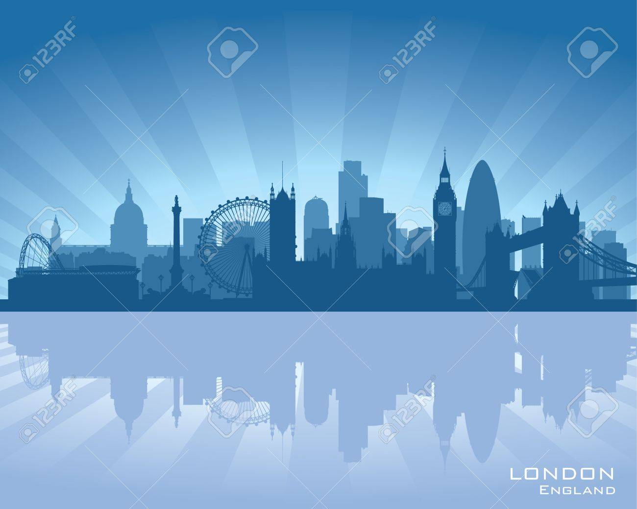 London, England skyline with reflection in water - 16708358