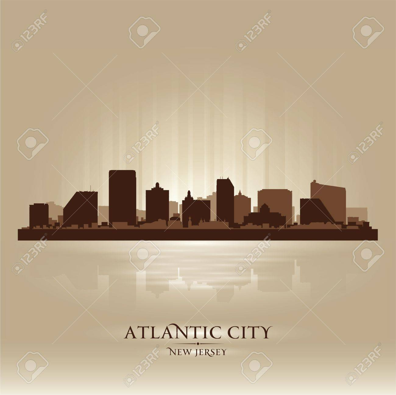 Atlantic City, New Jersey skyline city silhouette Stock Vector - 17598673