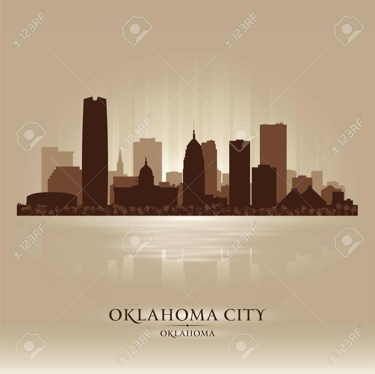 Oklahoma City skyline silhouette Stock Vector - 17598755