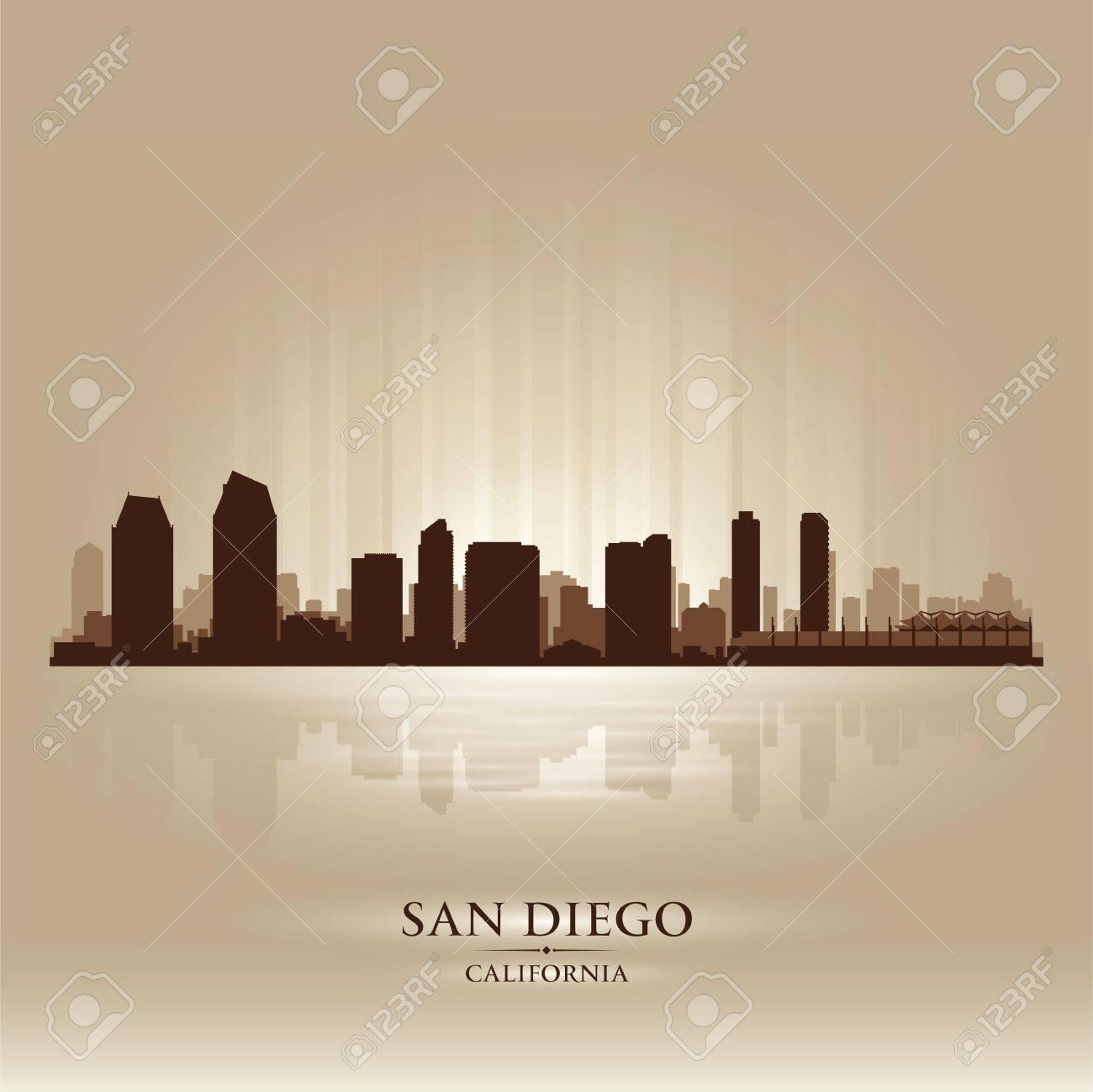 San Diego California skyline city silhouette Stock Vector - 18069565