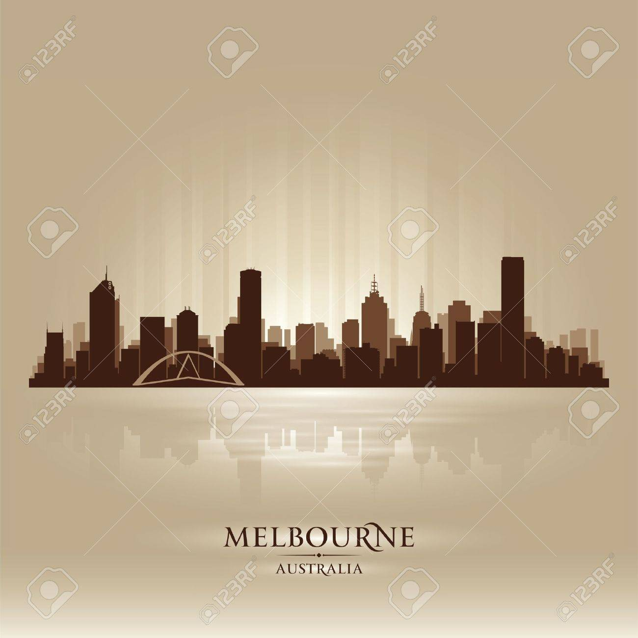 Melbourne Australia skyline city silhouette Stock Vector - 18259218