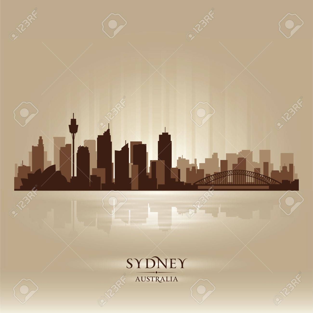 Sydney Australia skyline city silhouette Stock Vector - 18259211