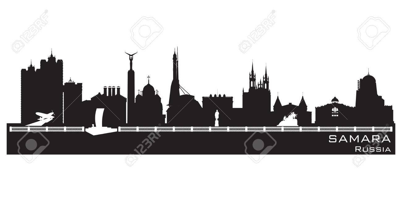 Samara Russia city skyline Detailed silhouette. Stock Vector - 18559032