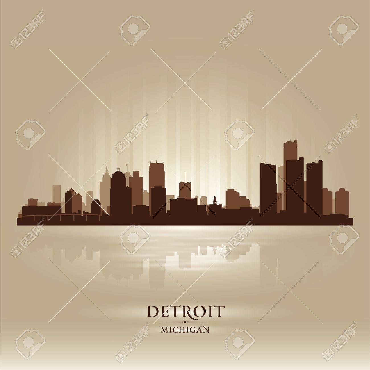 Detroit Michigan city skyline silhouette. Vector illustration Stock Vector - 18671024