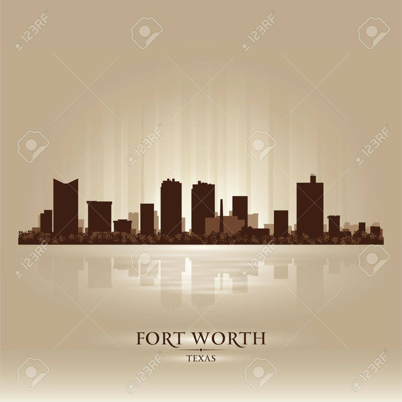 Fort Worth Texas city skyline silhouette. Vector illustration Stock Vector - 18671028