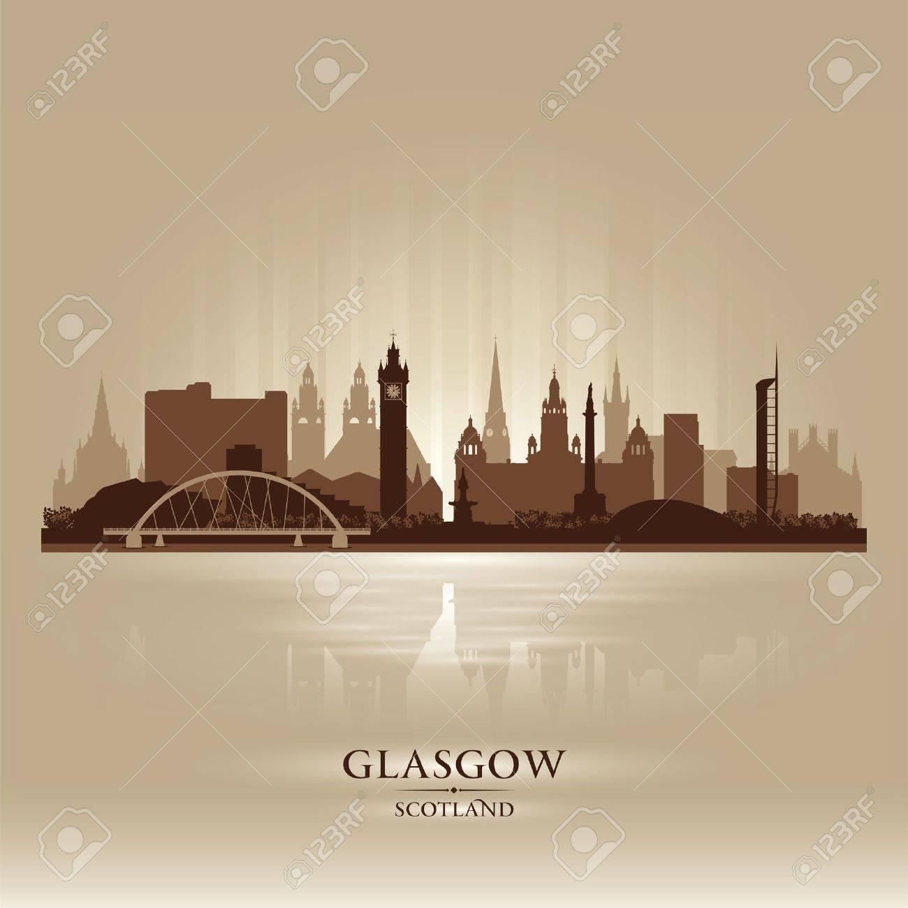 Glasgow Scotland skyline city silhouette illustration Stock Vector - 19027338