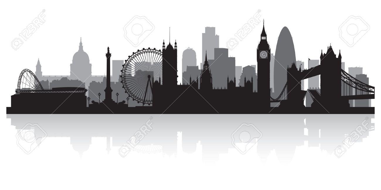London City Skyline Silhouette Vector Illustration Stock