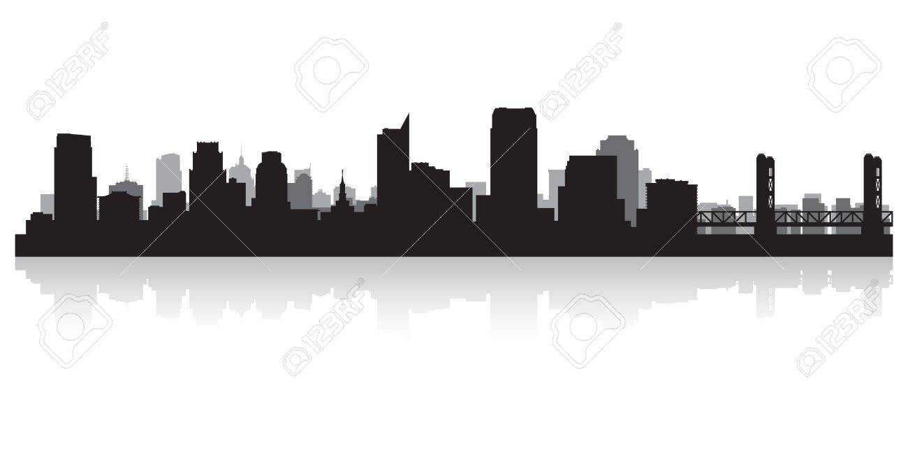 Sacramento USA city skyline silhouette vector illustration Stock Vector - 21157944
