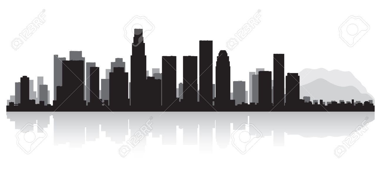 los angeles usa city skyline silhouette vector illustration royalty rh 123rf com los angeles skyline silhouette vector los angeles skyline outline vector
