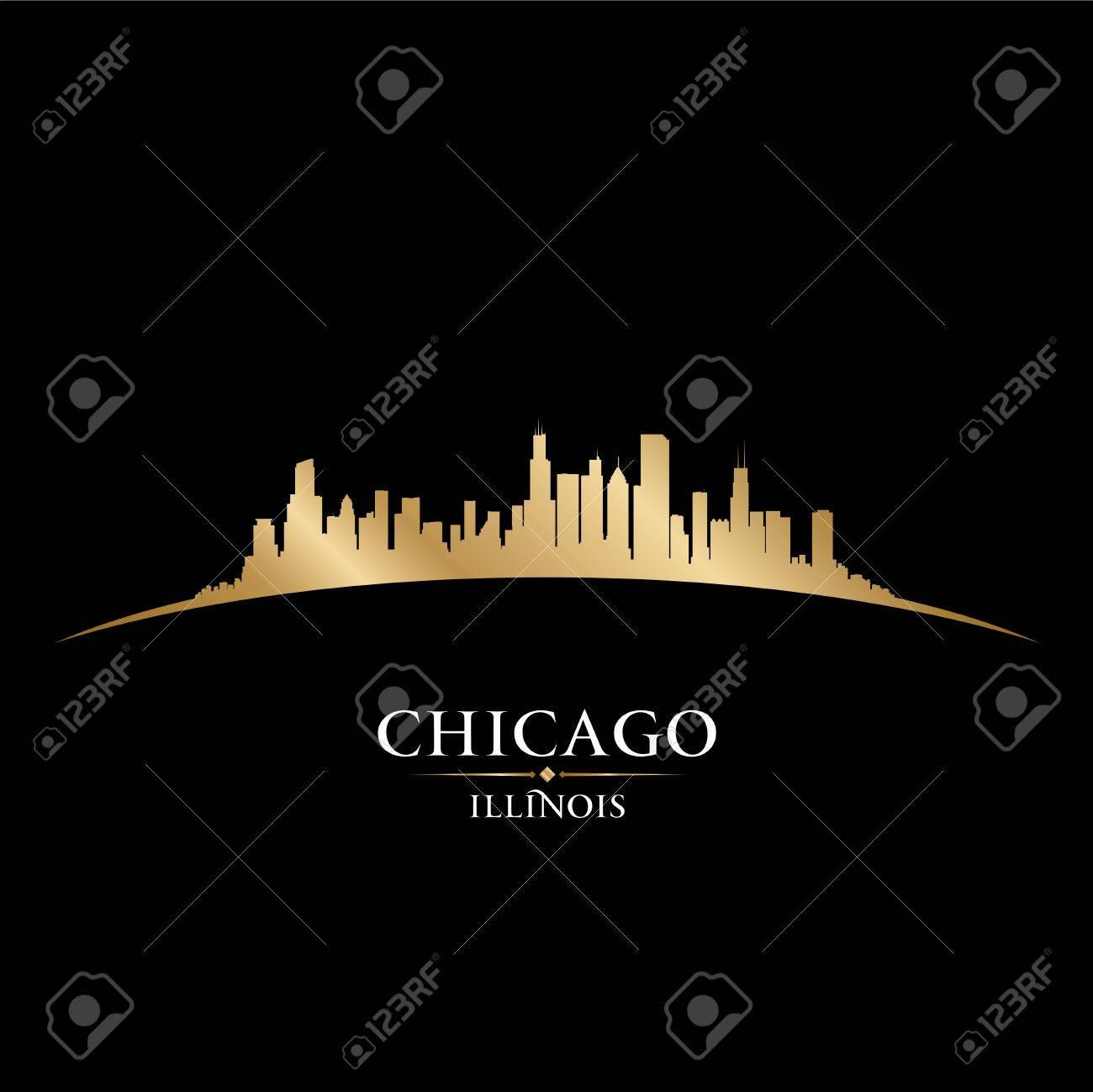 Chicago Illinois city skyline silhouette. Vector illustration Stock Vector - 22598675
