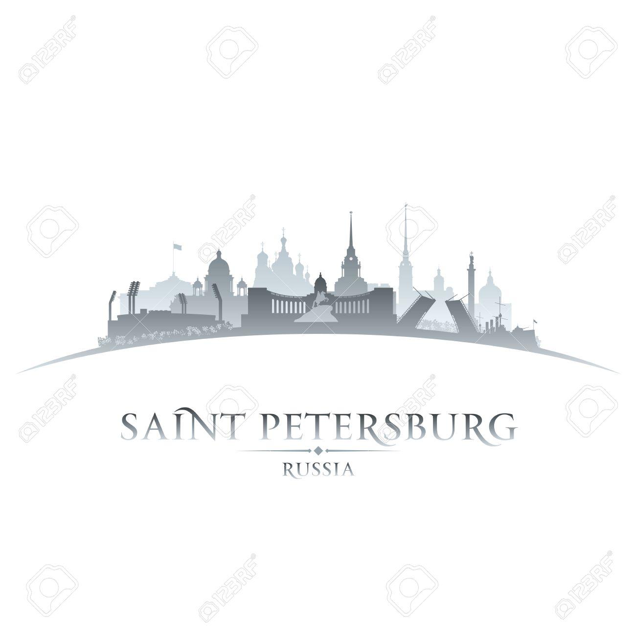Saint Petersburg Russia city skyline silhouette. Vector illustration Stock Vector - 24510298