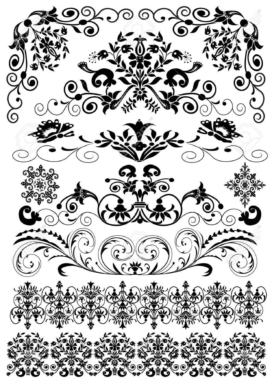 illustration set symmetrical black pattern is insulated Stock Vector - 9917691
