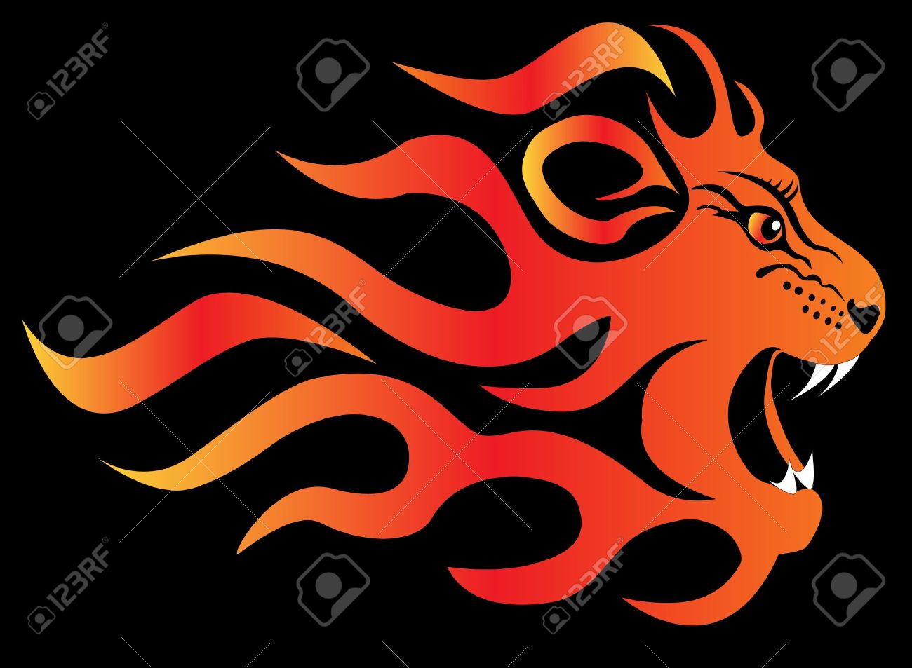 Фото лев в ярости в огне 3