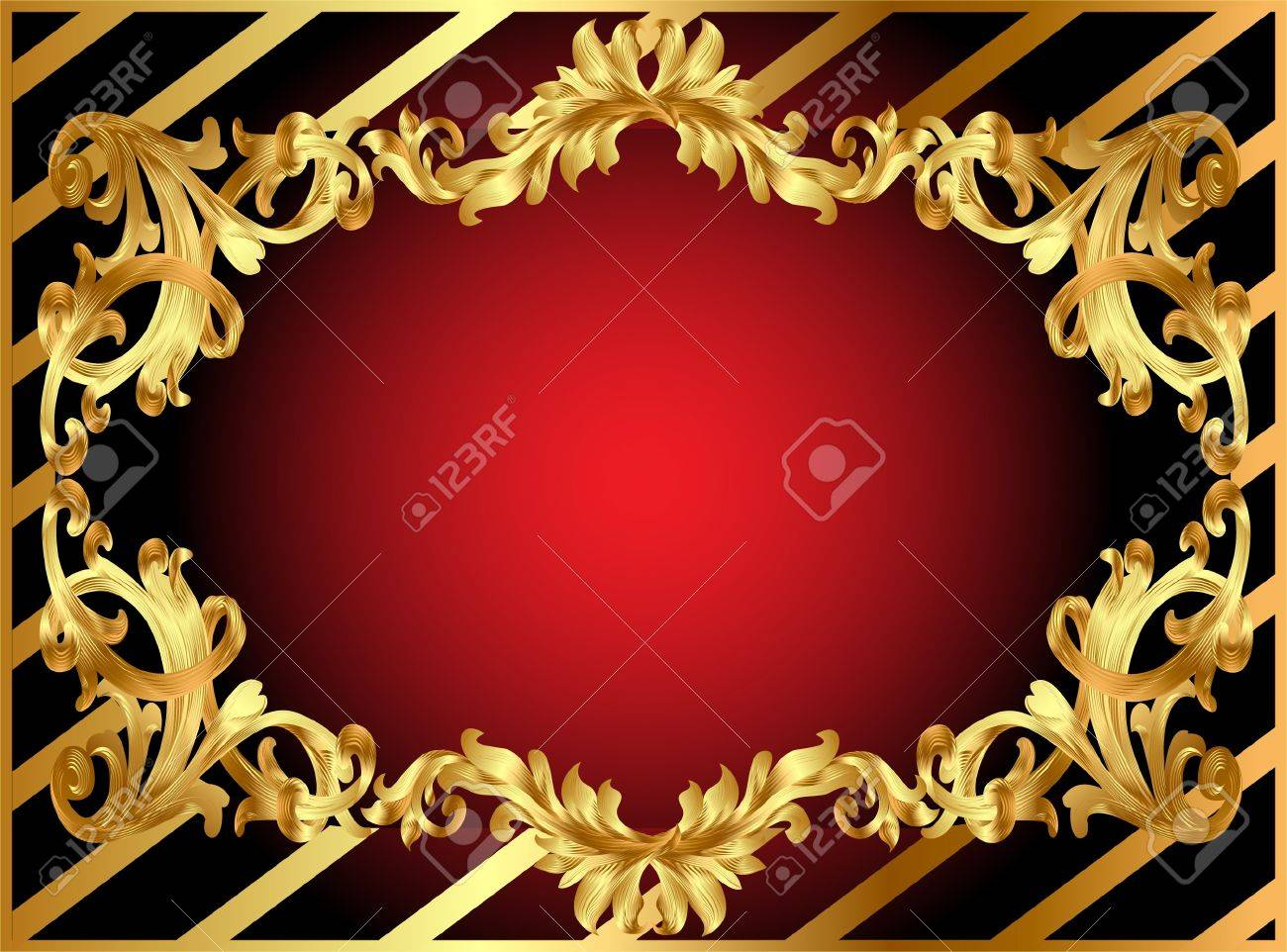 illustration gold frame with pattern and band Stock Vector - 10089117