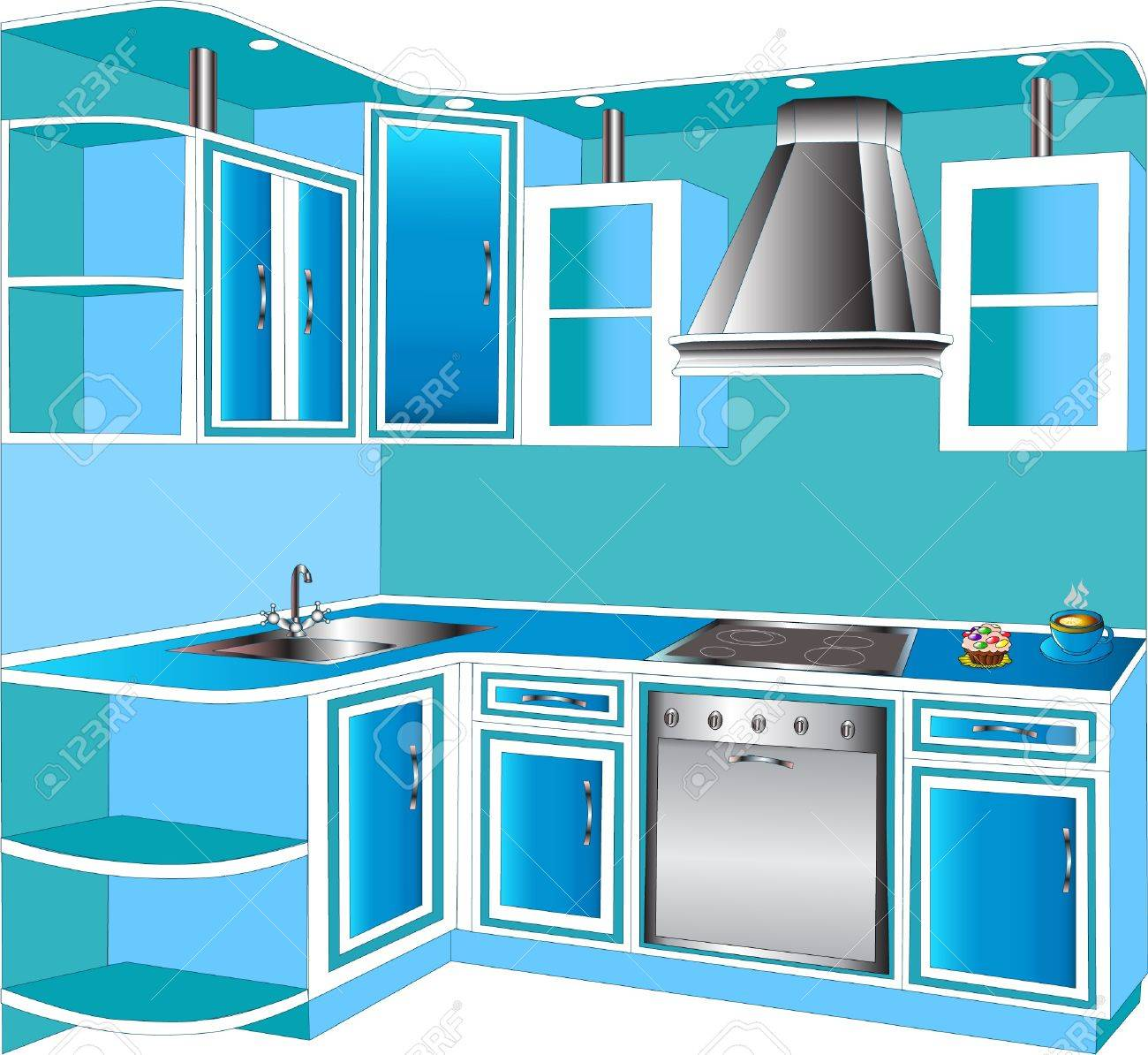Furniture For Kitchens Furniture For Interior Of The Kitchens Of The Blue Color Royalty