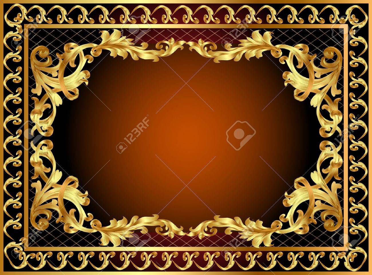 illustration gold frame with pattern and band Stock Vector - 10310190
