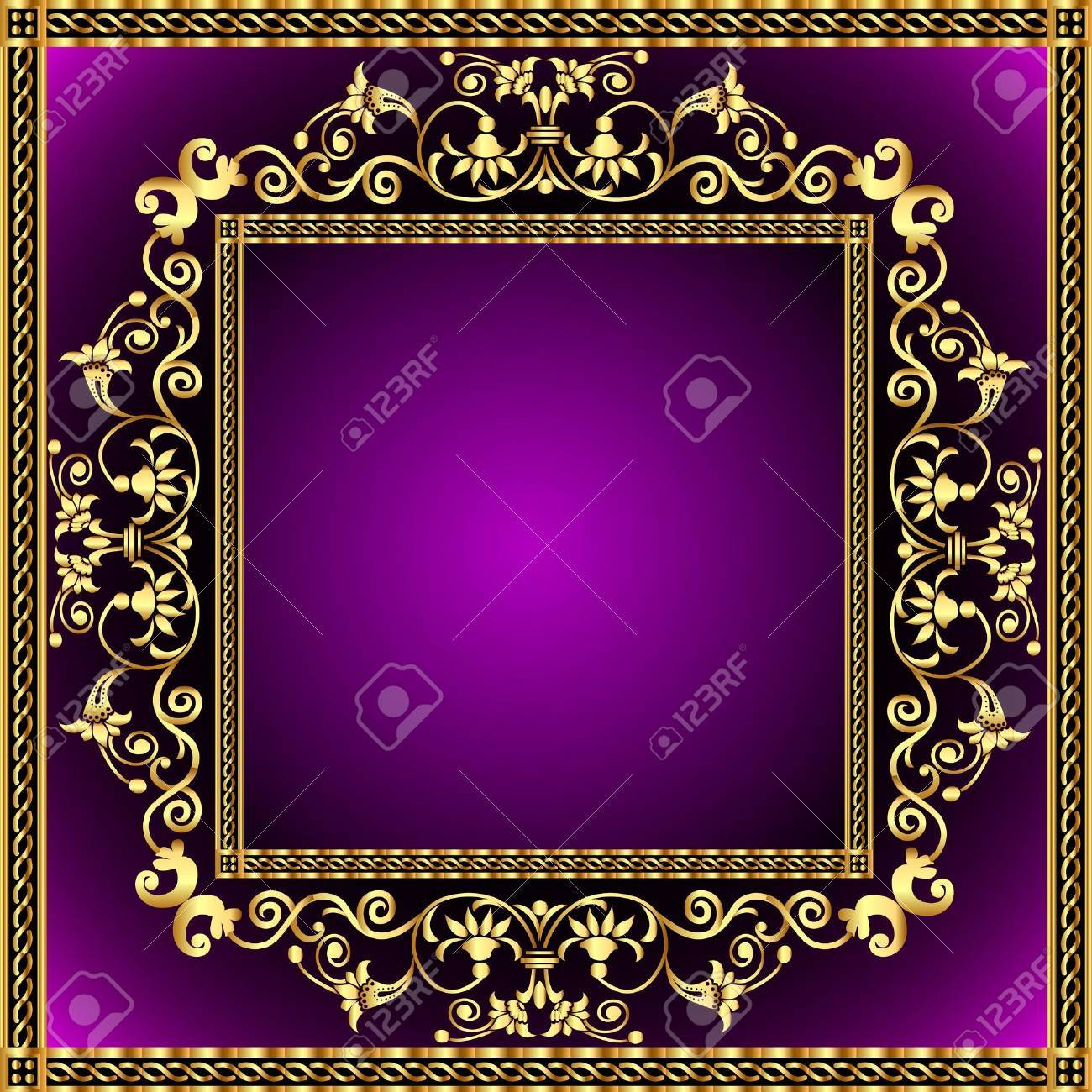 illustration frame with gold pattern and revenge for text Stock Vector - 10390594