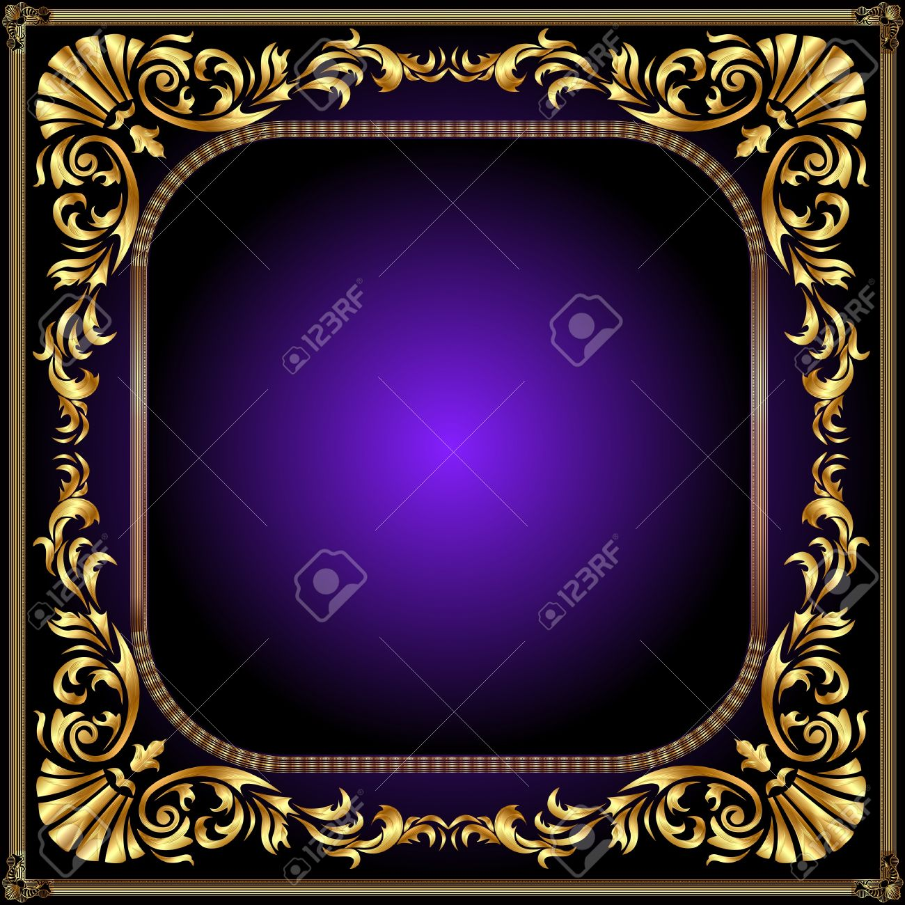 illustration winding gold pattern frame Stock Vector - 10488349
