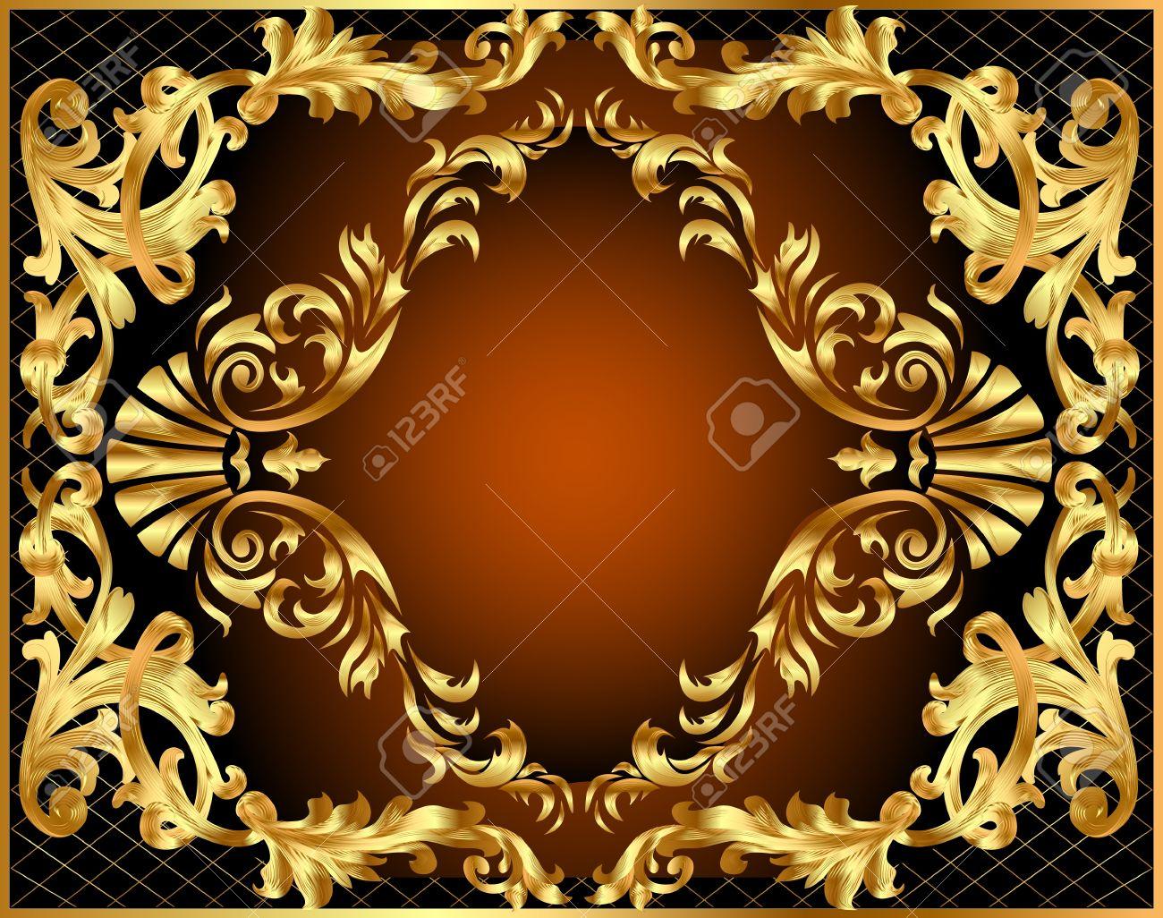 illustration winding gold pattern frame Stock Vector - 10488341