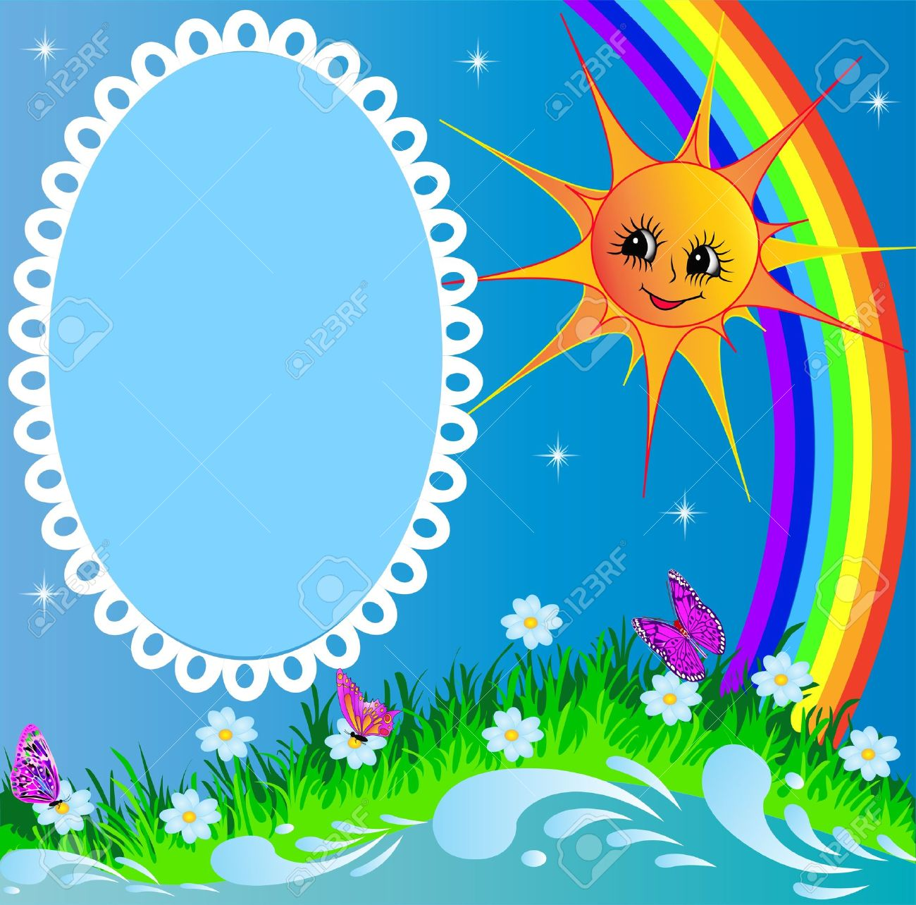 Illustration Frame With Sun Butterfly And Rainbow Stock Vector