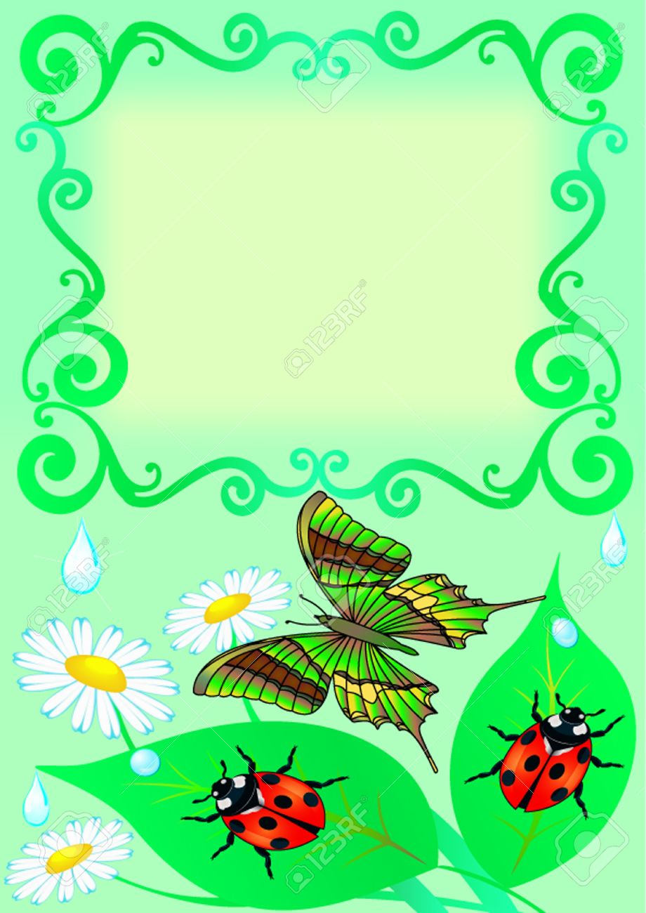 illustration frame with butterfly color sheet ladybug and drop stock vector 10567766 - Butterfly Color Sheet