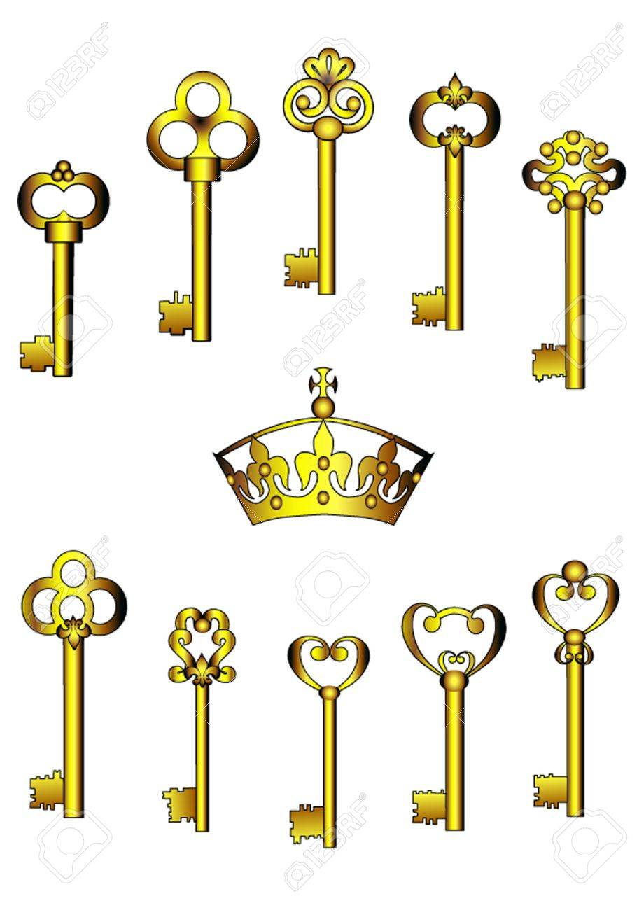 illustration set key is insulated on white Stock Vector - 10572955