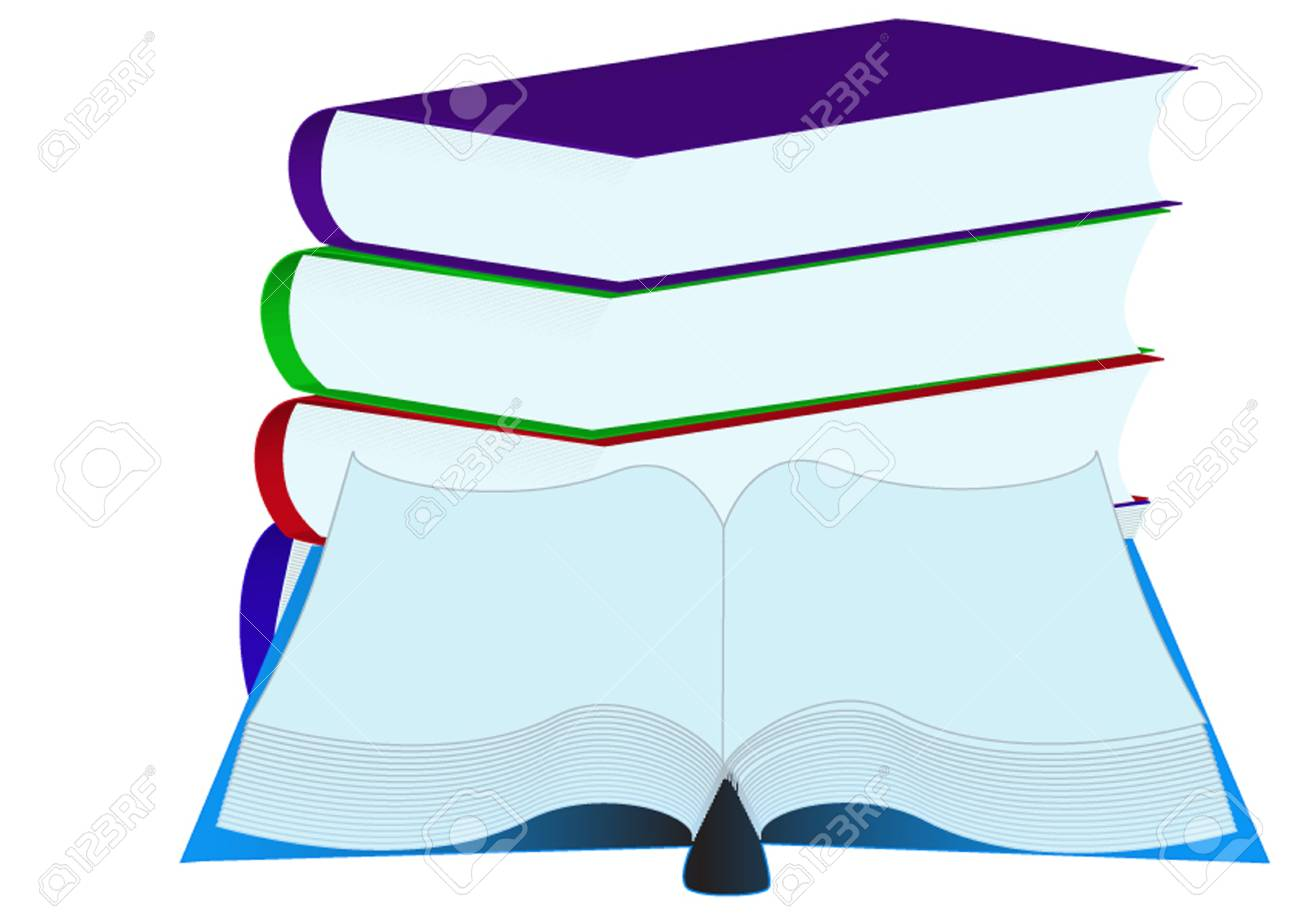 illustration pile books insulated on white background Stock Vector - 10621979