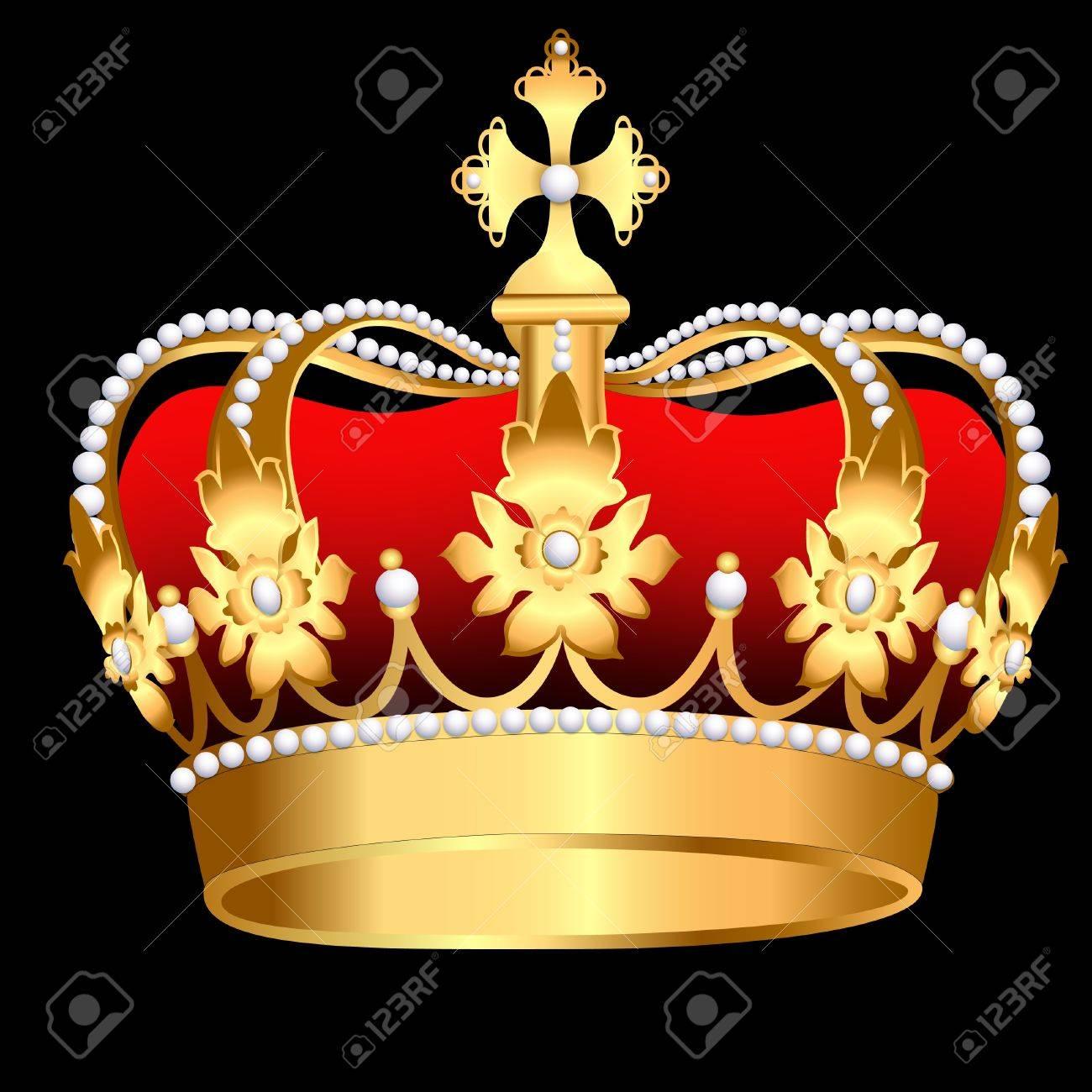 illustration tsarist gold corona with pearl and sheet Stock Vector - 10710154
