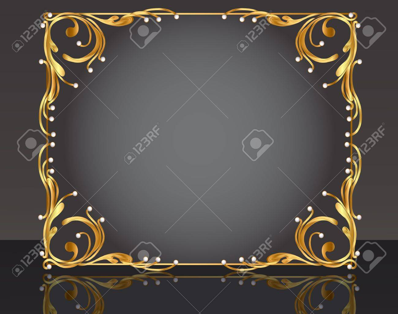 illustration decorative frame with pattern gold pearl Stock Vector - 10835908