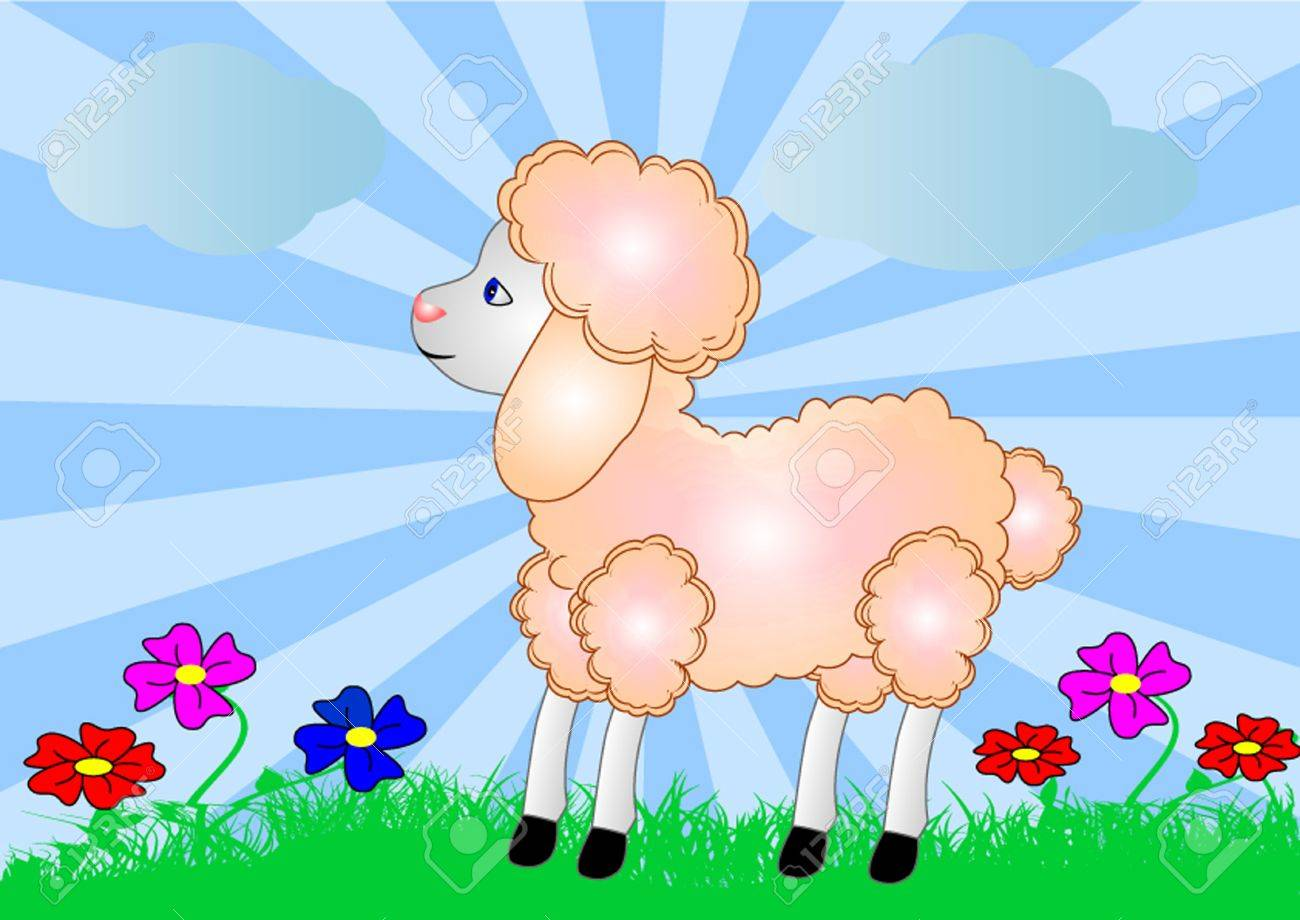 illustration sheep on background of the nature and flower Stock Vector - 10934170