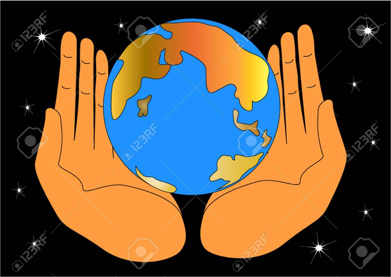 illustration of the hand keeping globe and protecting him Stock Vector - 10934181