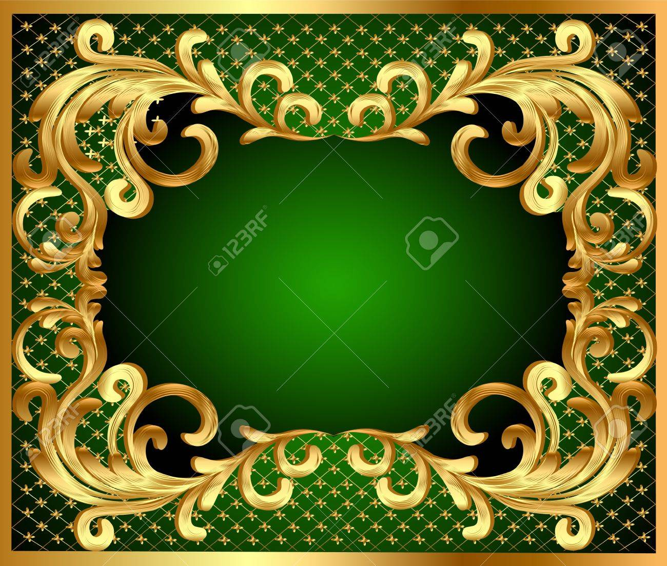 illustration frame background with gold vegetable pattern Stock Vector - 10934196
