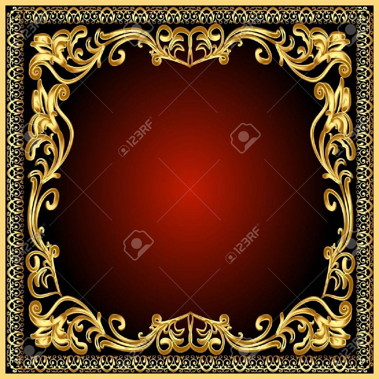 illustration frame background with gold(en) old pattern Stock Vector - 10997789