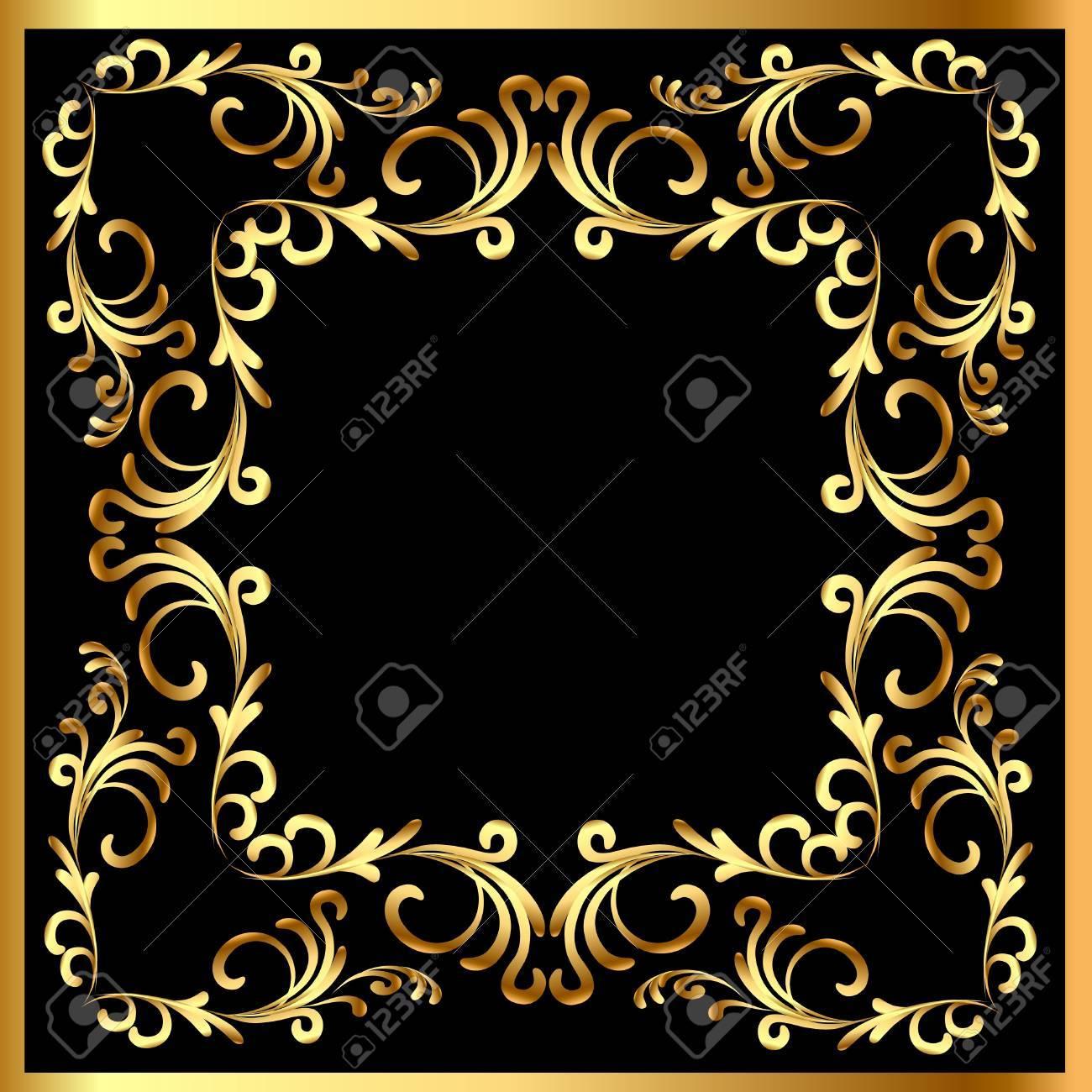 illustration background frame with vegetable gold(en) pattern Stock Vector - 11016563