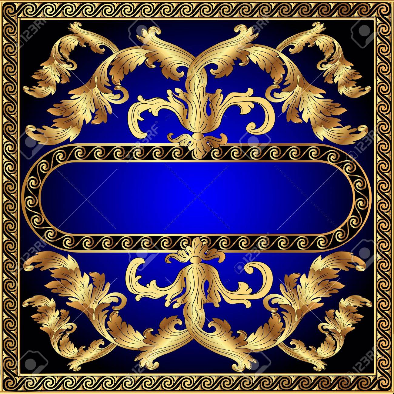 illustration gold(en) frame with vegetable and spiral by pattern Stock Vector - 11083064