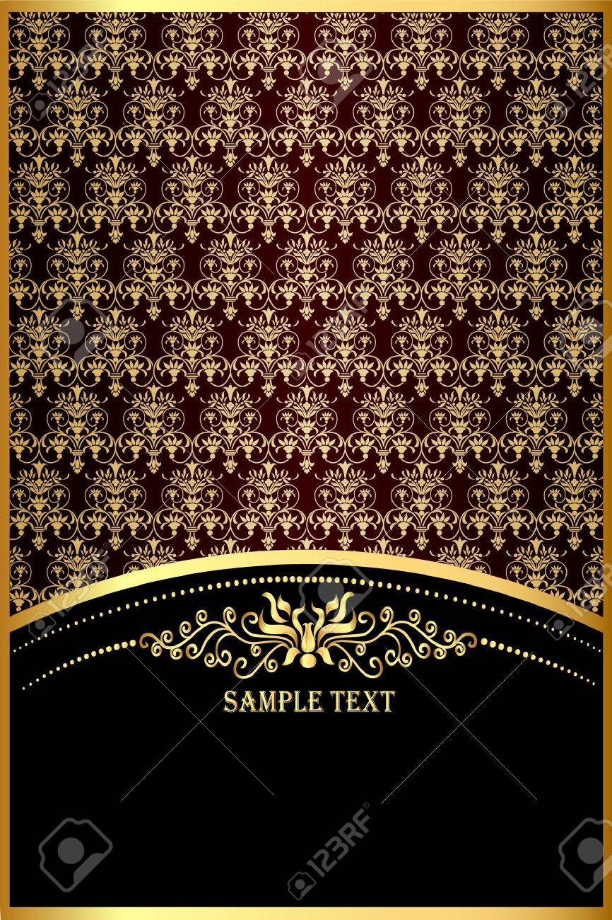 illustration background with gold(en) pattern for invitation Stock Vector - 11083074