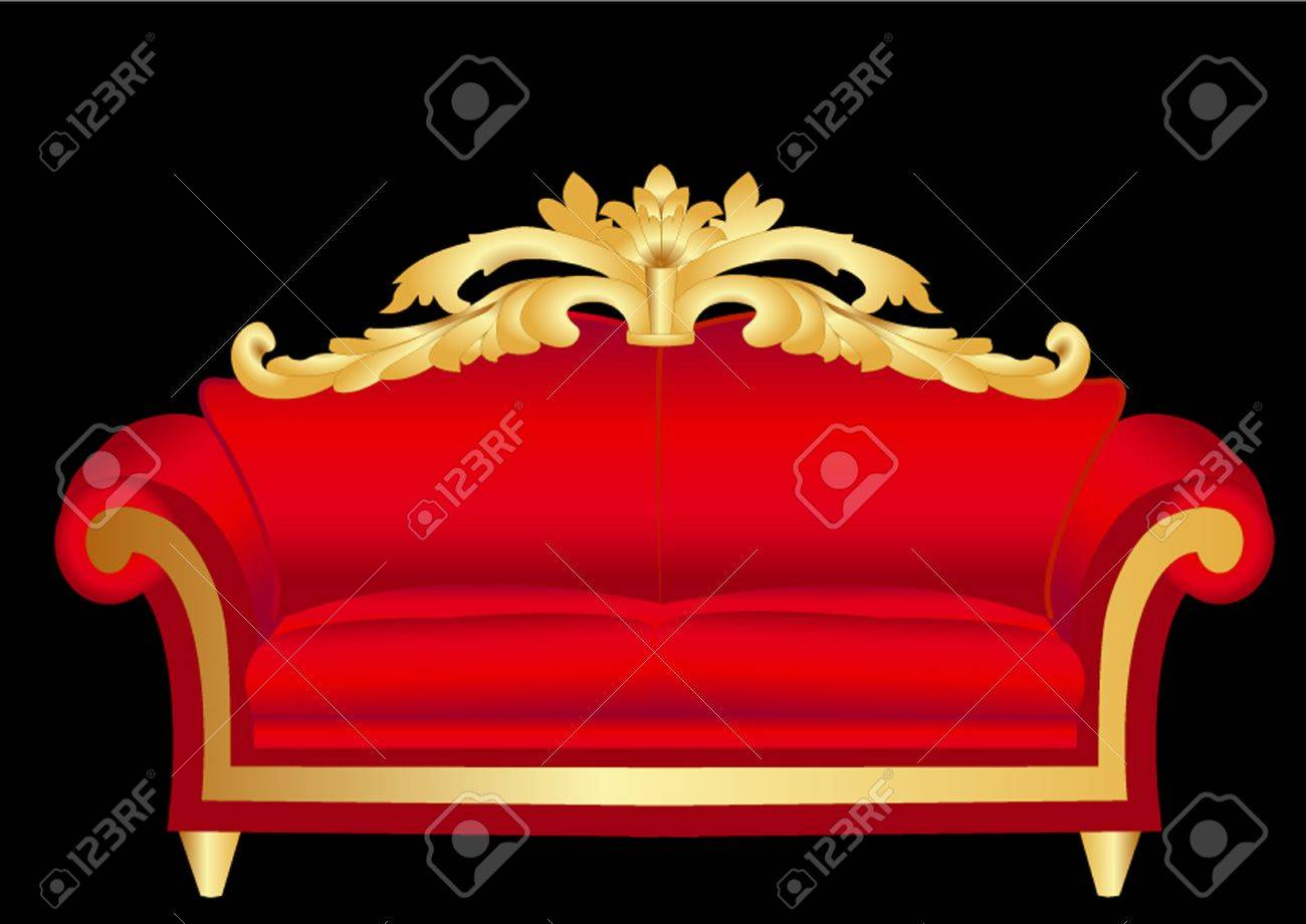 illustration sofa red with pattern on black Stock Vector - 11287502
