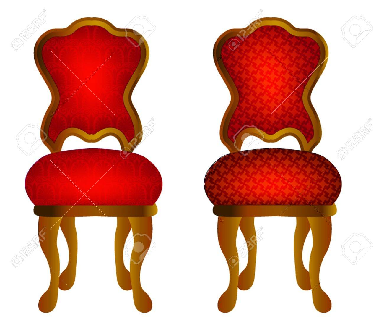 Stupendous Illustration Two Red Chairs With Pattern Home Interior And Landscaping Mentranervesignezvosmurscom