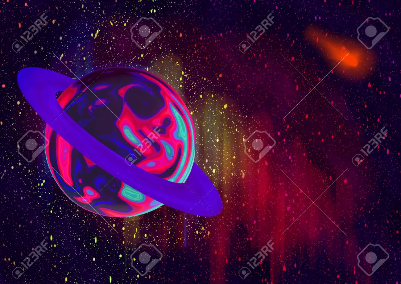 illustration of the planet and stars in open cosmos Stock Photo - 11517999