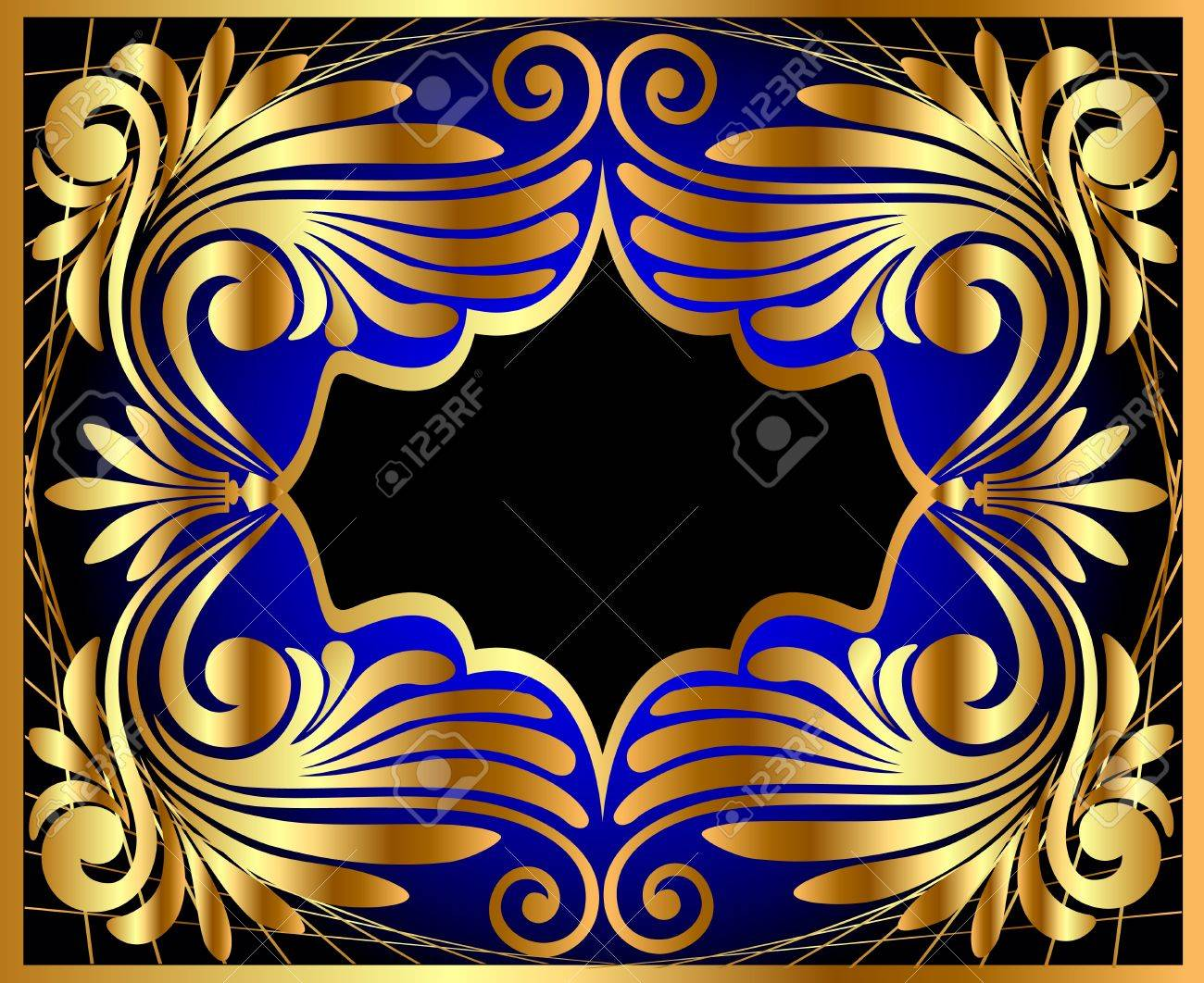 illustration horizontal frame with gold(en) antique pattern Stock Vector - 11518159