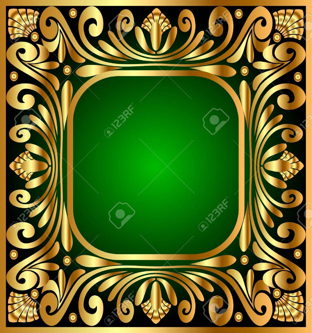 vector illustration square frame with golden antique pattern